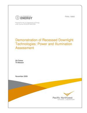 Primary view of object titled 'Demonstration of Recessed Downlight Technologies: Power and Illumination Assessment'.