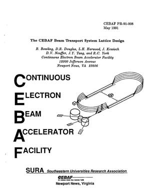 Primary view of object titled 'The CEBAF Beam Transport System Lattice Design'.