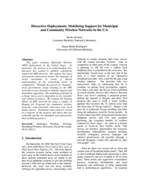 Primary view of object titled 'Discursive Deployments: Mobilizing Support for Municipal and Community Wireless Networks in the U.S.'.