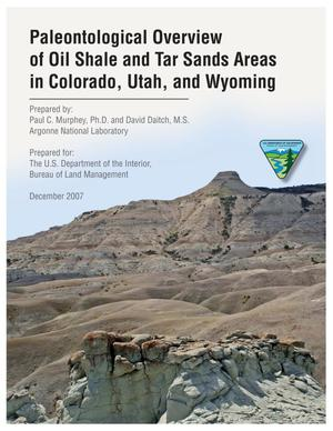 Primary view of object titled 'Paleontological overview of oil shale and tar sands areas in Colorado, Utah, and Wyoming.'.