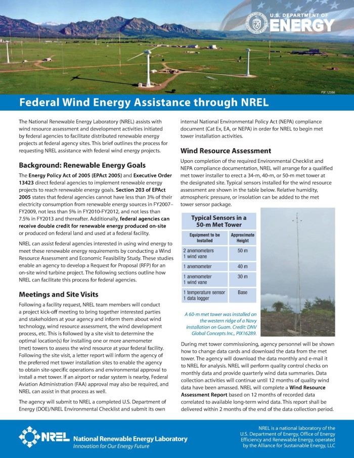 Federal Wind Energy Assistance through NREL (Fact Sheet) - Digital