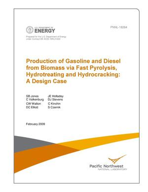 Primary view of object titled 'Production of Gasoline and Diesel from Biomass via Fast Pyrolysis, Hydrotreating and Hydrocracking: A Design Case'.