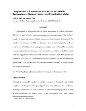 Primary view of object titled 'Complexation of Lanthanides with Nitrate at Variable Temperatures: Thermodynamics and Coordination Modes'.
