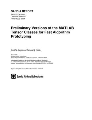 Primary view of object titled 'Preliminary versions of the MATLAB tensor classes for fast algorithm prototyping.'.