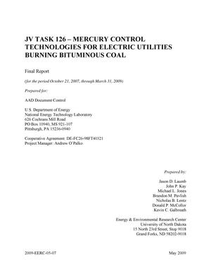 Primary view of object titled 'JV Task 126 - Mercury Control Technologies for Electric Utilities Burning Bituminous Coal'.