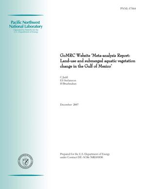 Primary view of object titled 'GoMRC Website 'Meta-analysis Report: Land-use and submerged aquatic vegetation change in the Gulf of Mexico''.