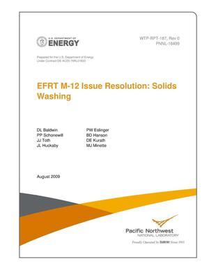 Primary view of object titled 'EFRT M-12 Issue Resolution: Solids Washing'.