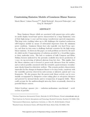 Primary view of object titled 'Constraining Emission Models of Luminous Blazar Sources'.