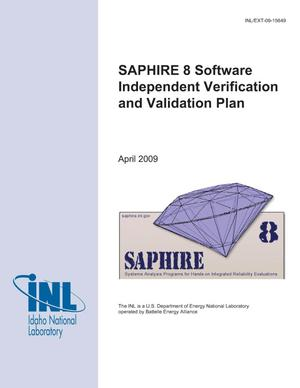Primary view of object titled 'SAPHIRE 8 Software Independent Verification and Validation Plan'.