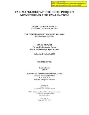 Primary view of object titled 'Yakima/Klickitat Fisheries Project Monitoring and Evaluation, Final Report For the Performance Period May 1, 2008 through April 30, 2009.'.