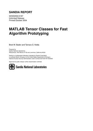Primary view of object titled 'MATLAB tensor classes for fast algorithm prototyping.'.