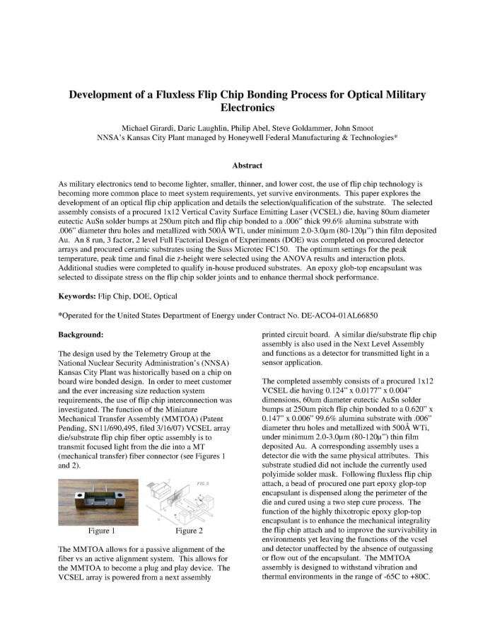 Development of a Fluxless Flip Chip Bonding Process for
