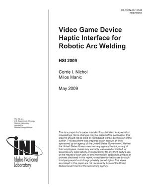 Primary view of object titled 'Video Game Device Haptic Interface for Robotic Arc Welding'.