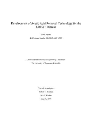 Primary view of object titled 'Development of Acetic Acid Removal Technology for the UREX+Process'.