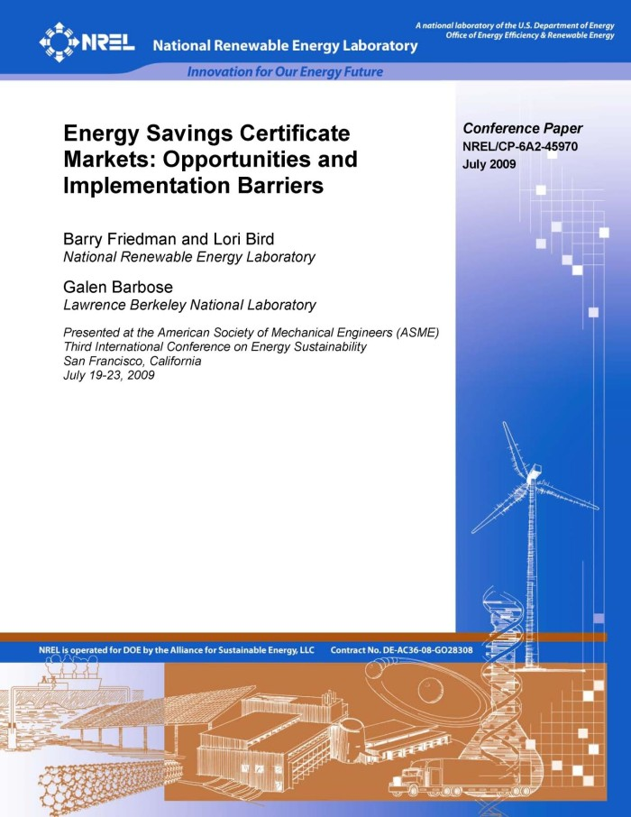 Energy Savings Certificate Markets Opportunities And Implementation