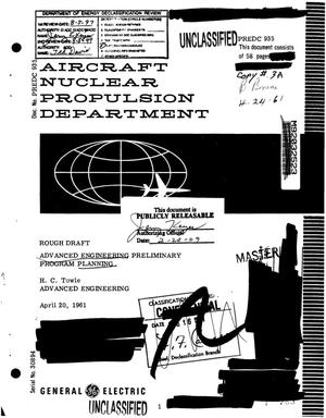 Primary view of object titled 'Advanced Engineering Preliminary Program Planning, Rough Draft'.