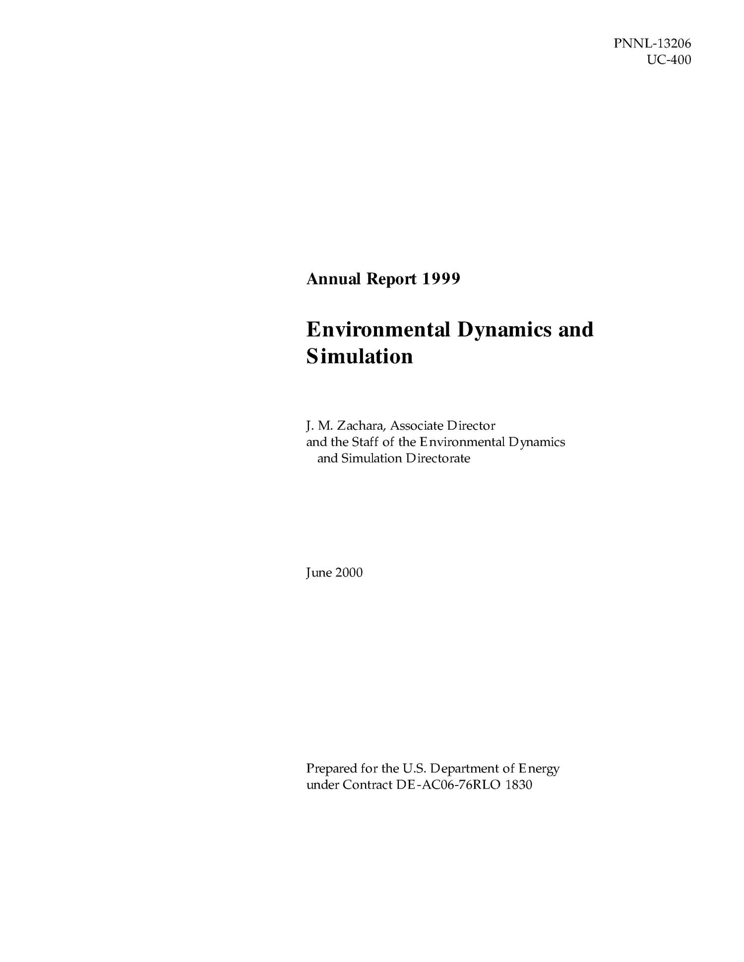 Annual Report 1999 Environmental Dynamics & Simulation                                                                                                      [Sequence #]: 1 of 5