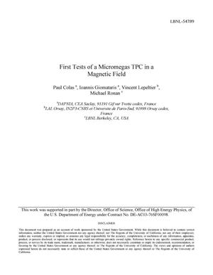 Primary view of object titled 'First tests of a Micromegas TPC in a magnetic field'.
