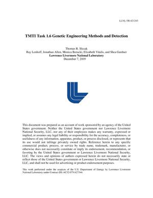 Primary view of object titled 'TMTI Task 1.6 Genetic Engineering Methods and Detection'.