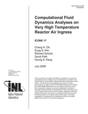 Primary view of object titled 'Computational Fluid Dynamics Analyses on Very High Temperature Reactor Air Ingress'.