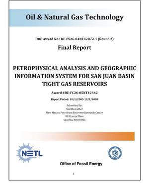 Primary view of object titled 'Petrophysical Analysis and Geographic Information System for San Juan Basin Tight Gas Reservoirs'.