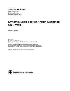 Primary view of object titled 'Dynamic load test of Arquin-designed CMU wall.'.