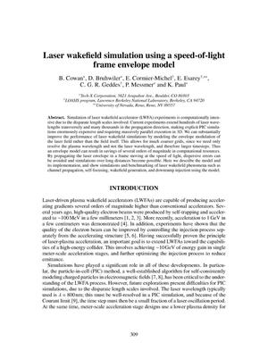 Primary view of object titled 'Laser wakefield simulation using a speed-of-light frame envelope model'.