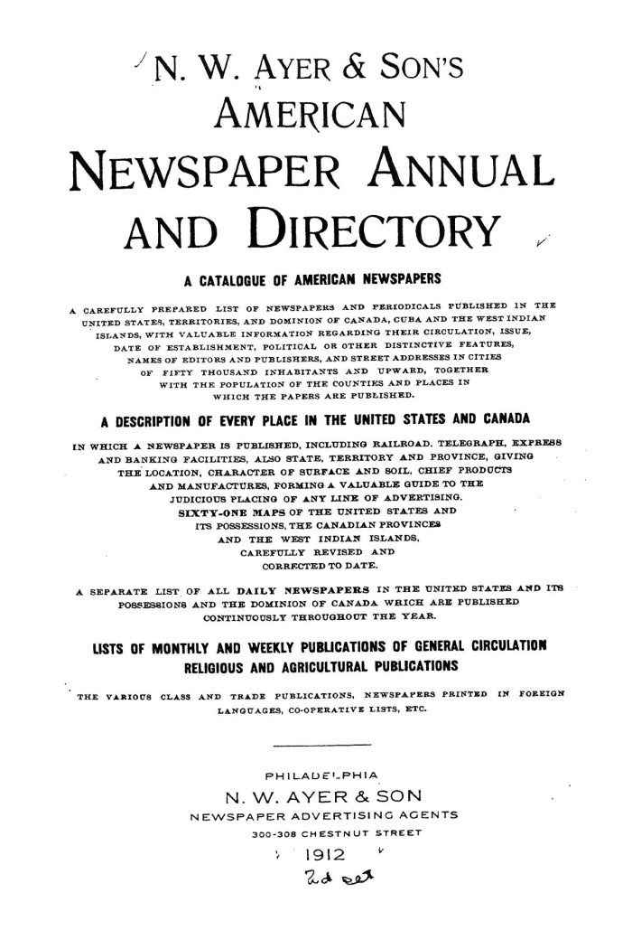 N  W  Ayer & Son's American Newspaper Annual and Directory