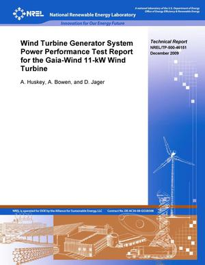 Primary view of object titled 'Wind Turbine Generator System Power Performance Test Report for the Gaia-Wind 11-kW Wind Turbine'.