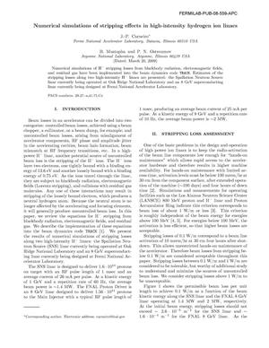 Primary view of object titled 'Numerical simulations of stripping effects in high-intensity hydrogen ion linacs'.
