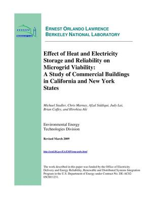 Primary view of object titled 'Effect of Heat and Electricity Storage and Reliability on Microgrid Viability: A Study of Commercial Buildings in California and New York States'.