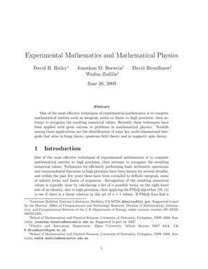 Primary view of object titled 'Experimental Mathematics and Mathematical Physics'.