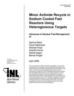 Primary view of object titled 'Minor Actinide Recycle in Sodium Cooled Fast Reactors Using Heterogeneous Targets'.