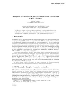 Primary view of object titled 'Trilepton searches for chargino-neutralino production at the Tevatron'.