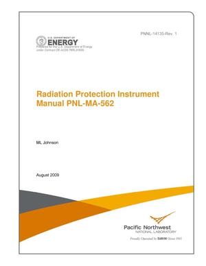 Primary view of object titled 'Radiation Protection Instrument Manual, Revision 1, PNL-MA-562'.