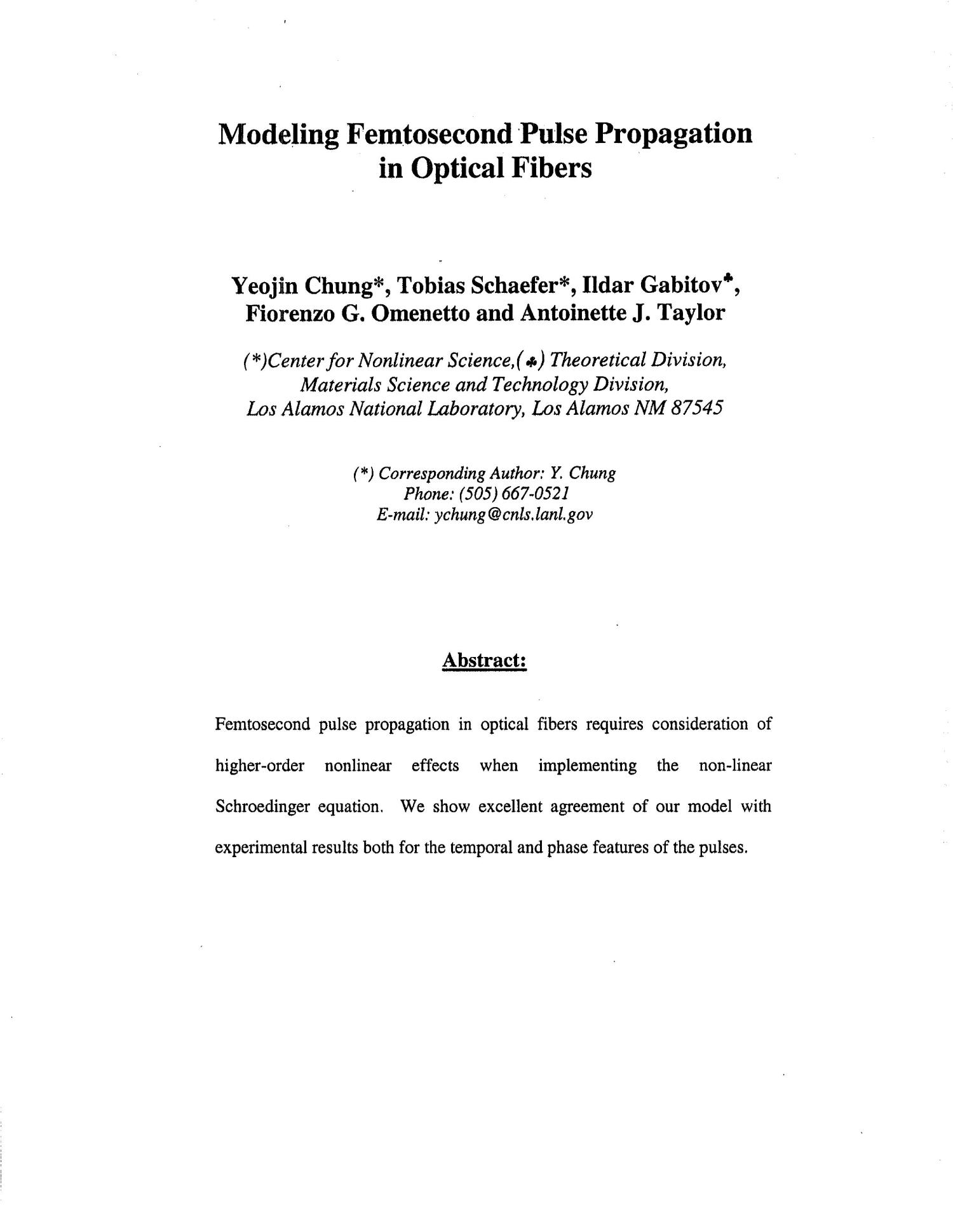 Modeling femtosecond pulse propagation in optical fibers.                                                                                                      [Sequence #]: 2 of 5