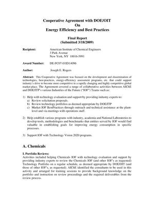 Primary view of object titled 'Cooperative Agreement with DOE/OIT on Energy Efficiency and Best Practices - Final Report'.