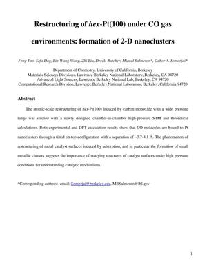 Primary view of object titled 'Restructuring of hex-Pt(100) under CO gas environments: formation of 2-D nanoclusters'.