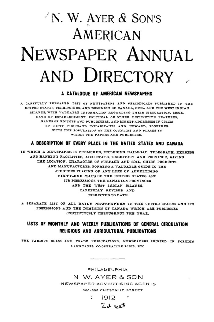 N  W  Ayer & Son's American Newspaper Annual and Directory: A