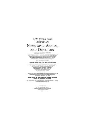 Primary view of object titled 'N. W. Ayer & Son's American Newspaper Annual and Directory: A Catalogue of American Newspapers, 1911, Volume 2'.
