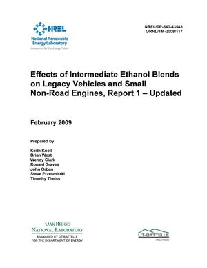 Primary view of object titled 'Effects of Intermediate Ethanol Blends on Legacy Vehicles and Small Non-Road Engines, Report 1 - Updated'.