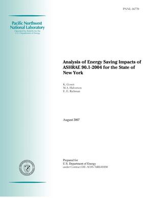 Primary view of object titled 'Analysis of Energy Saving Impacts of ASHRAE 90.1-2004 for New York'.