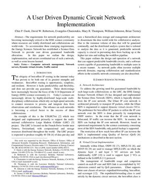 Primary view of object titled 'A User Driven Dynamic Circuit Network Implementation'.