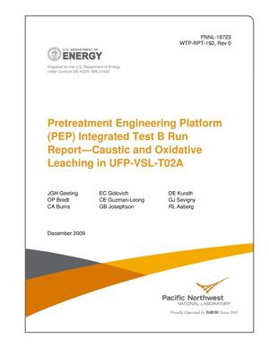 Primary view of object titled 'Pretreatment Engineering Platform (PEP) Integrated Test B Run Report--Caustic and Oxidative Leaching in UFP-VSL-T02A'.