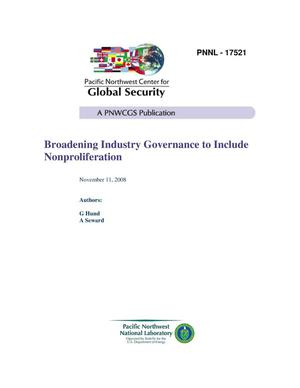 Primary view of object titled 'Broadening Industry Governance to Include Nonproliferation'.
