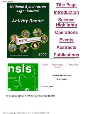 Primary view of object titled 'NATIONAL SYNCHROTRON LIGHT SOURCE ACTIVITY REPORT 2000.'.