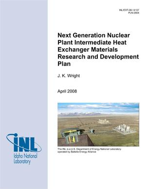 Primary view of object titled 'Next Generation Nuclear Plant Intermediate Heat Exchanger Materials Research and Development Plan (PLN-2804)'.