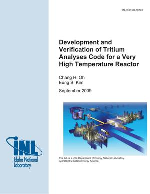 Primary view of object titled 'Development and Verification of Tritium Analyses Code for a Very High Temperature Reactor'.