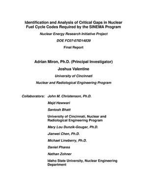Primary view of object titled 'Identification and Analysis of Critical Gaps in Nuclear Fuel Cycle Codes Required by the SINEMA Program'.