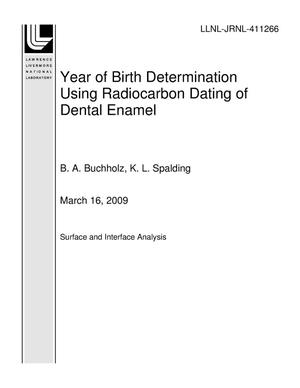 Primary view of object titled 'Year of Birth Determination Using Radiocarbon Dating of Dental Enamel'.